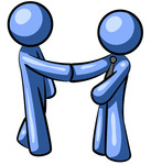 Clipart Illustration of a Blue Man Wearing A Tie, Shaking Hands With Another Upon Agreement Of A Business Deal